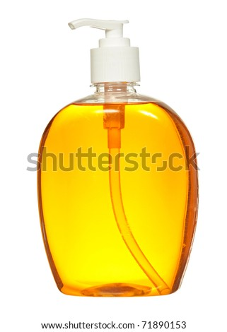 Plastic Bottle with liquid soap on a white background - stock photo