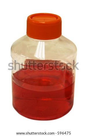 Plastic bottle with Orange cap with Red DMEM media isolated on white - stock photo