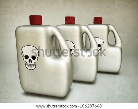 plastic bottle with skull logo