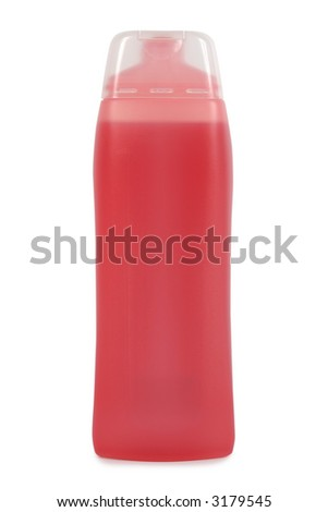 Plastic bottle with soap or shampoo. Isolated on white. Clipping path included.