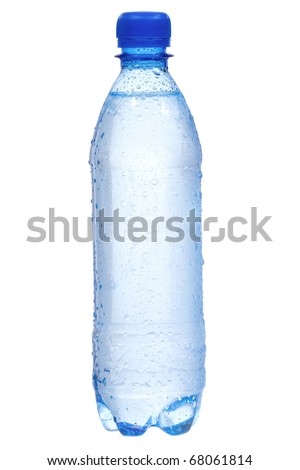 Plastic bottle with water drops on white background