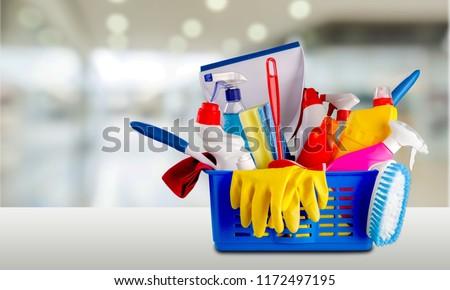 Plastic bottles, cleaning sponge and gloves  on background #1172497195