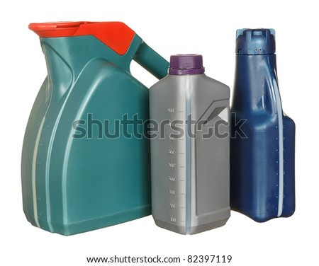 Plastic bottles from automobile oils isolated on a white background