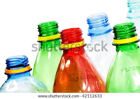 Plastic bottles isolated on white background