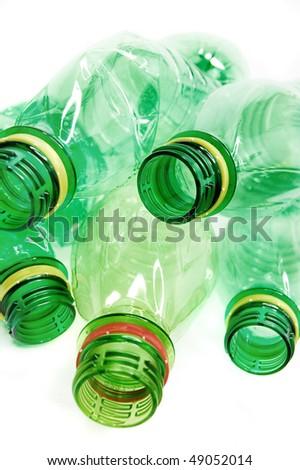 Plastic bottles isolated on white background