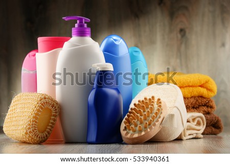 Plastic bottles of body care and beauty products. Stock foto ©