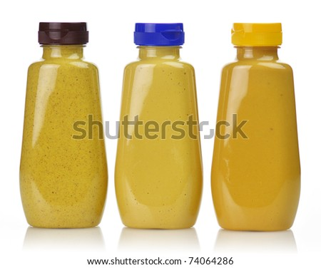 plastic  bottles of honey ,dijon and spicy brown mustard