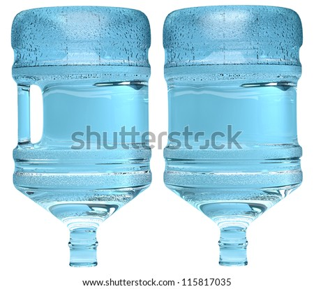 plastic bottles of water isolated on white background