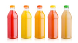Plastic bottles with fresh organic juice on white background
