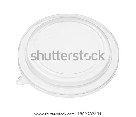 Photo of  Plastic bowl cover lid disposable (with clipping path) isolated on white background