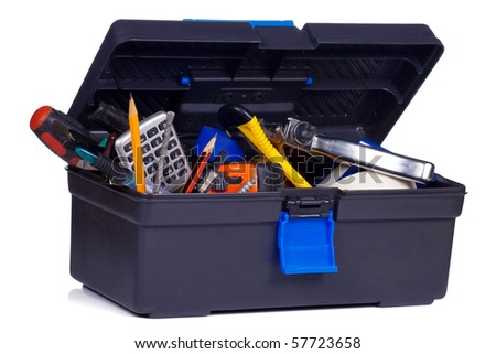 plastic box with tools on white