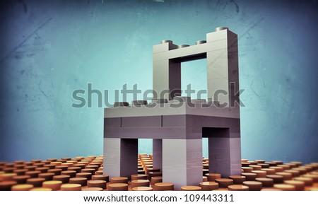 plastic bricks assembled like a chair