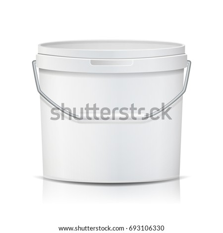 Plastic Bucket Realistic. Empty Clean. White Plastic Bucket For Dessert, Yogurt, Ice Cream, Sour Sream. Isolated On White Background Illustration