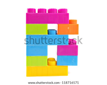 plastic building blocks letter B on a white background