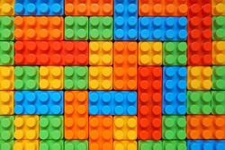 Plastic building blocks pattern background, Colorful toy bricks for kid, Top view