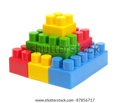 plastic building blocks pyramid on a white background
