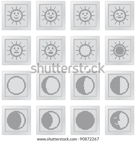 plastic buttons with suns and moons. icon set with dot-based symbols of sun with smiles and moon phases for control and info screens and web design. more icons are available. raster version