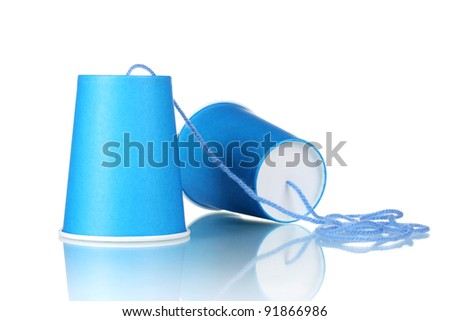 Plastic can phone isolated on white