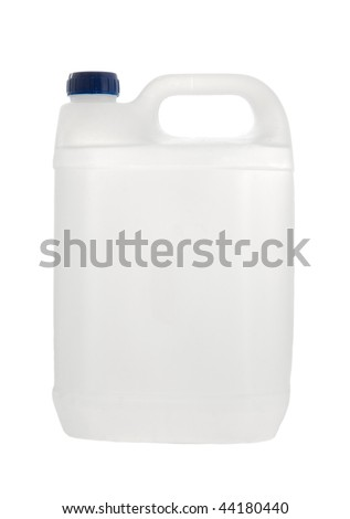 Plastic canister isolated on pure white background
