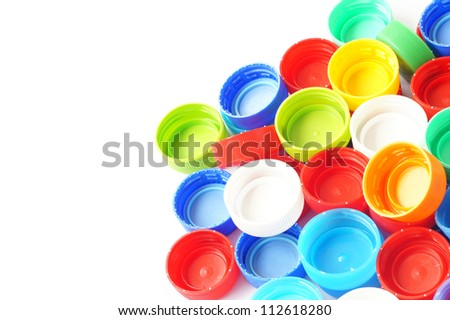 Plastic Caps of the bottle isolated on white background - stock photo