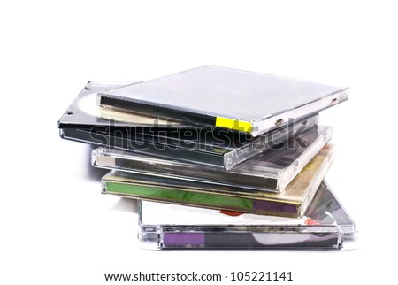 plastic cases of compact disk isolated on white