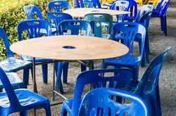 Plastic chair and table set for dining in the local restaurant.