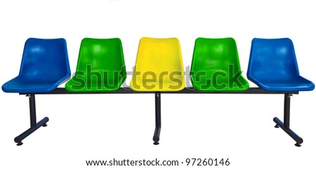 plastic chairs at the bus stop isolated on white background with clipping path