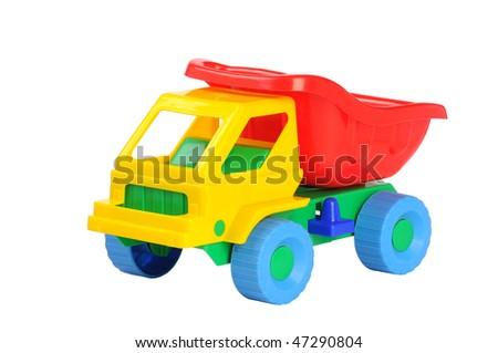 plastic children's machine on a white background