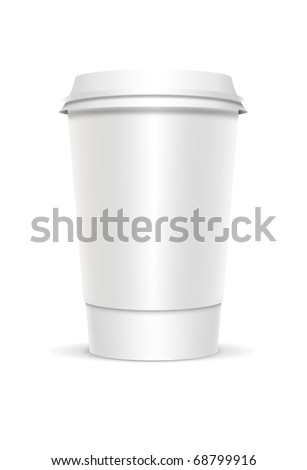 Plastic coffee cup templates over white background. 3d rendered illustration.