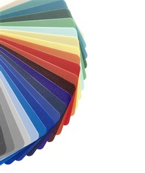 Plastic color guide on white. Clipping path