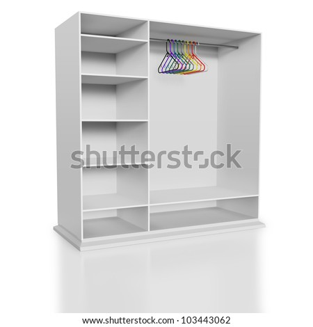 Plastic colorful tidy clothes hangers in white closet
