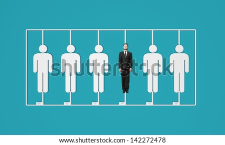 plastic constructor of businessman's on a blue background