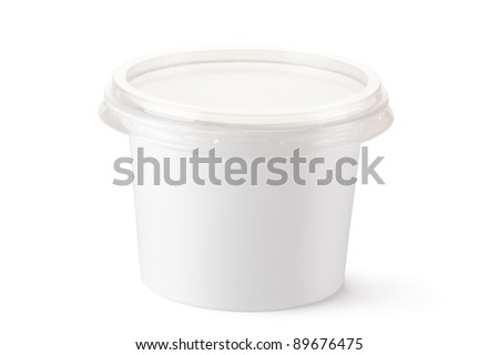 Plastic container for dairy foods. Isolated on a white.