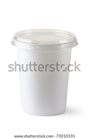 Plastic container for dairy foods. Isolated on white.