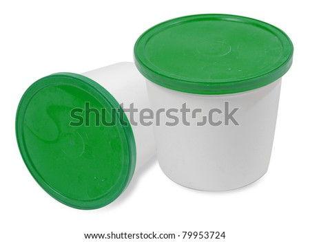 Plastic container for dairy foods. isolated over white background