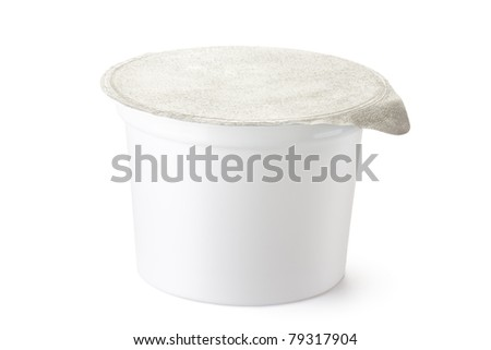 Plastic container for dairy foods with foil lid. Isolated on white.