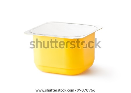 Plastic container for dairy products with foil lid. Isolated on a white.