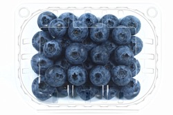 Plastic container with big ripe juicy blueberries isolated on white background with a clipping path. Top view.