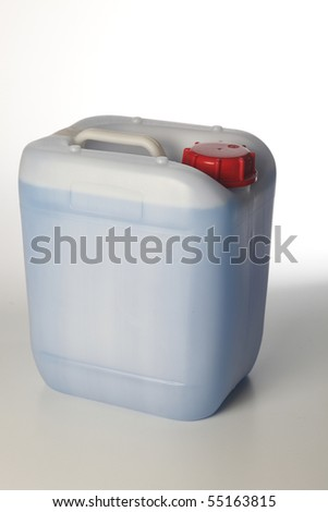 plastic container with blue liquid
