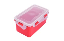 Plastic container with lid. Isolated on white background.