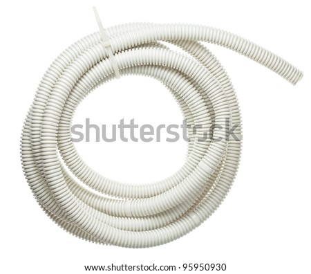 Plastic corrugated pipe, tube for cable protection in electrical installation.