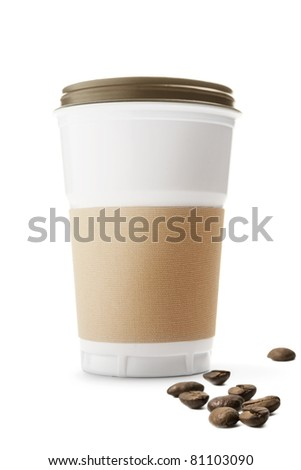 Plastic cup and coffee beans