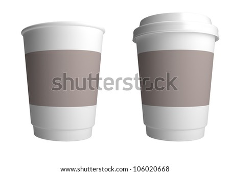 Plastic cup of coffee. 3d render illustration