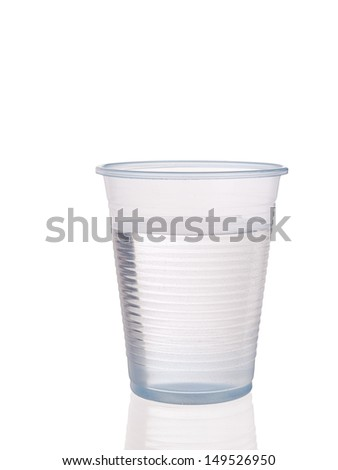 Plastic cup of drinking water, isolated with reflection - stock photo