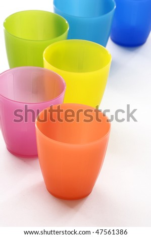 Plastic cups of various color