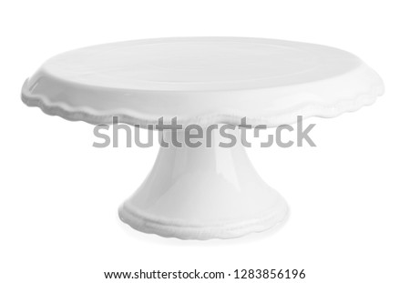 Plastic dessert stand on white background Foto stock ©