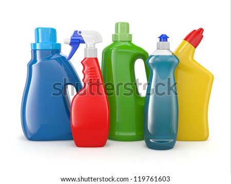 Plastic detergent bottles on white background Cleaning products 3d
