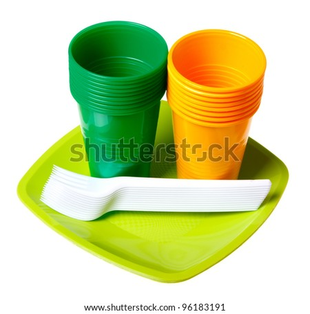 Plastic dishes isolated on a white background.