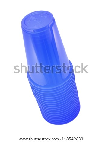 Plastic disposable cups isolated against a white background - stock photo