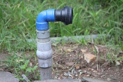 plastic fittings for bore well discharge. Elbows, head of sprinkler, coller and male threaded adapter are asemebled with solvent